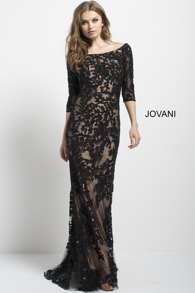 Jovani 49636 Lace Off Shoulder Gown With Mid Sleeves