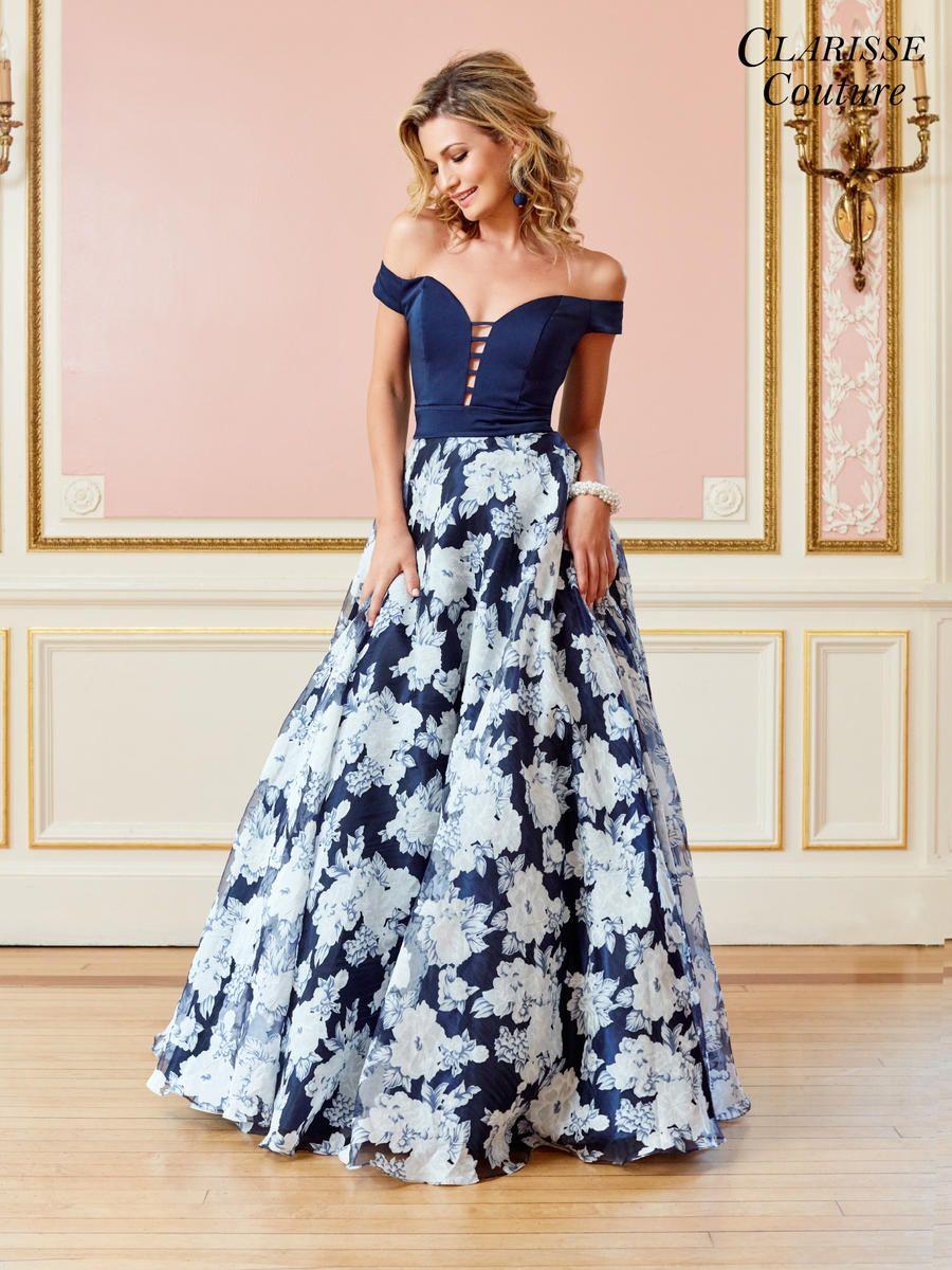 Clarisse Couture 4966 Off Shoulder Floral Organza Gown