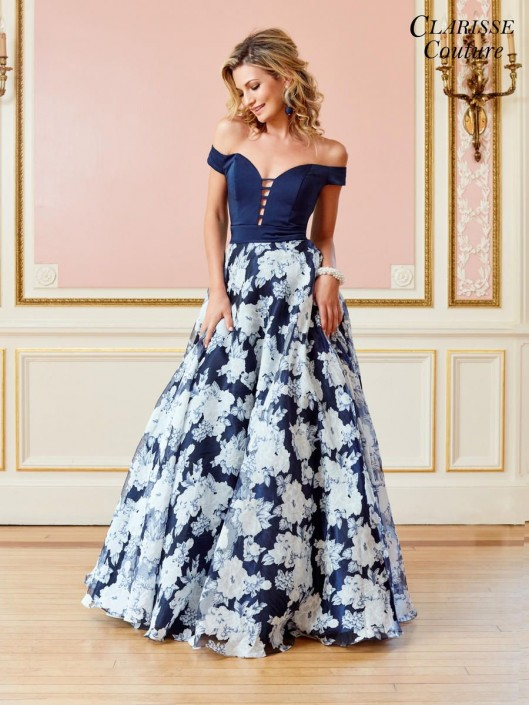 fc7cecaebadf Clarisse Couture 4966 Off Shoulder Floral Organza Gown: French Novelty