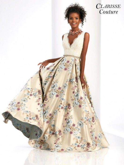 e2da82e8fc56 Clarisse Couture 4973 Floral Print Prom Dress: French Novelty