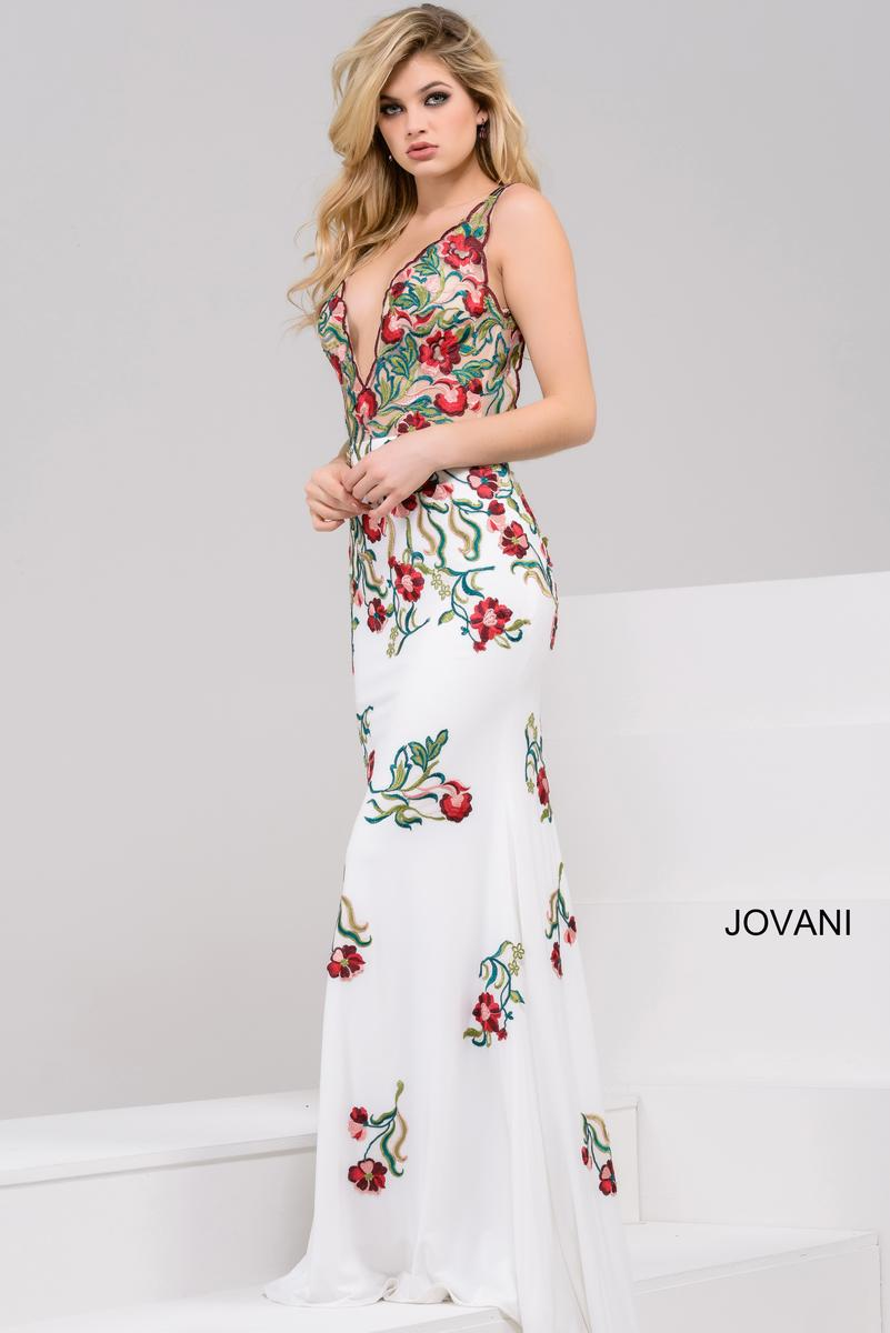 Jovani 49822 Sheer Colorful Floral Gown French Novelty