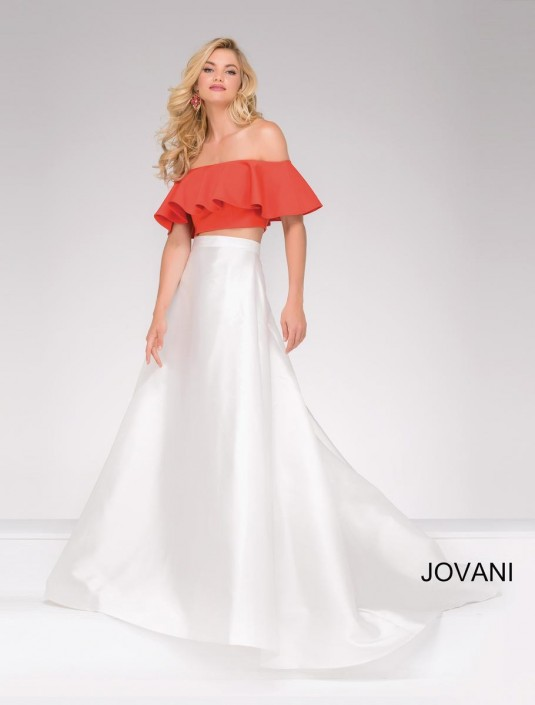 Jovani 49923 Off the Shoulder 2 Piece Prom Dress: French Novelty
