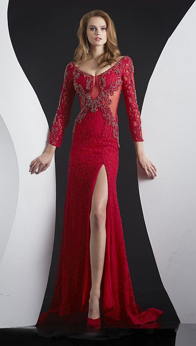 Jasz Red Carpet 4999 Long Sleeve Lace Illusion Gown