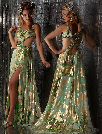 Macduggal Prom Mint Gold Prom Dress With Cut Outs 50020m French Novelty