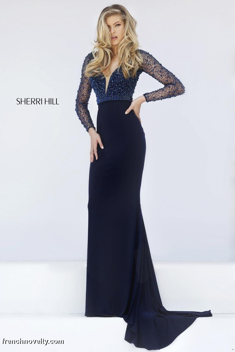 Sherri Hill 50060 Sheer Beaded Long Sleeve Gown French Novelty