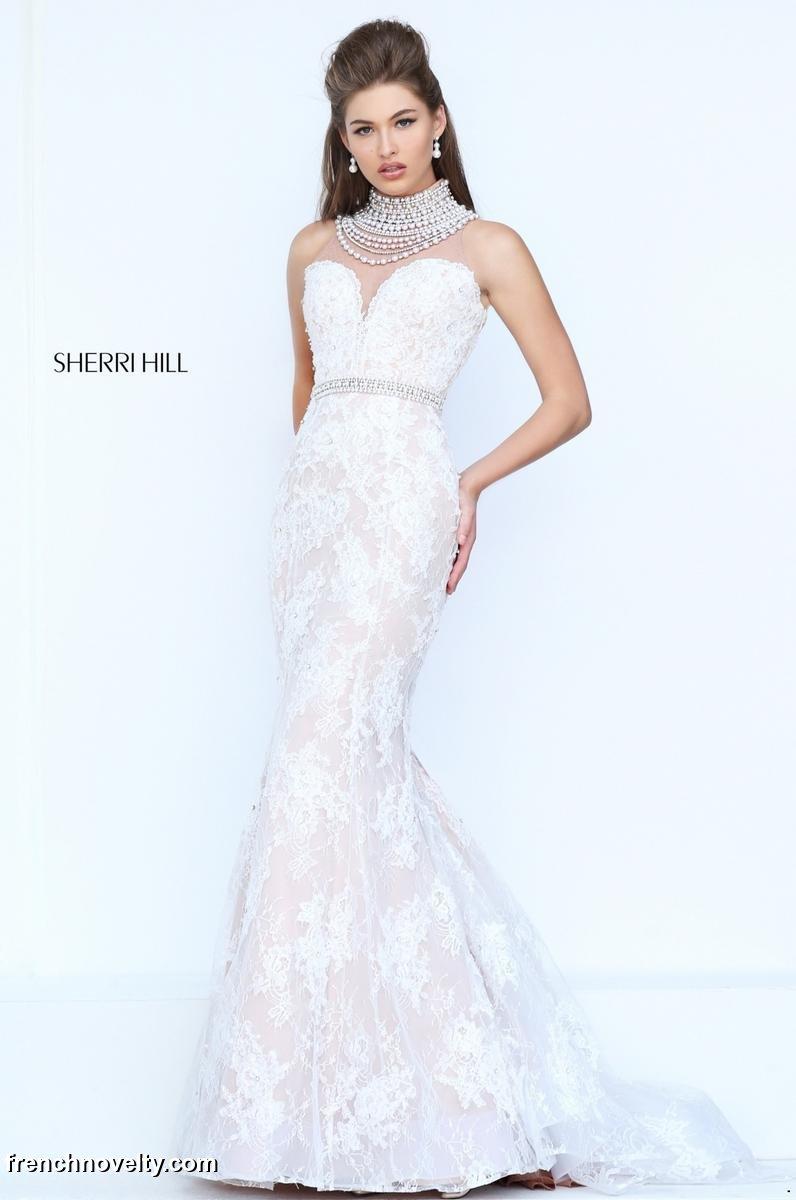 Sherri hill 50083 mermaid dress with back draped pearls for Sherri hill wedding dresses