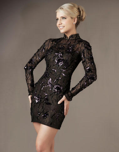 b97570af914 Mac Duggal Long Sleeve Cocktail Dress 50089D with Open Back: French Novelty