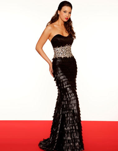 Mac Duggal Black And White Evening Dress 50096r French Novelty