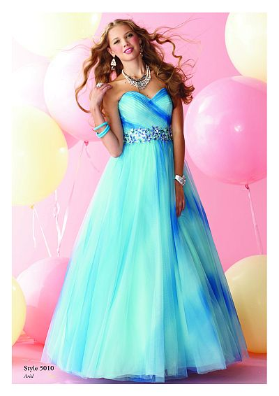 Alfred Angelo Disney Blue Ombre Ball Gown Prom Dress 5010