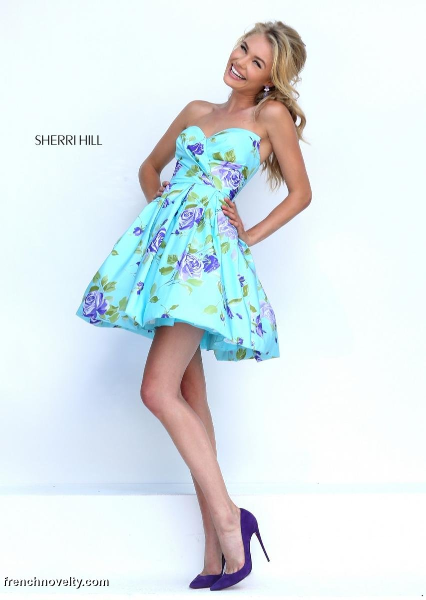 Sherri Hill 50116 Short Floral Print Prom Dress: French Novelty