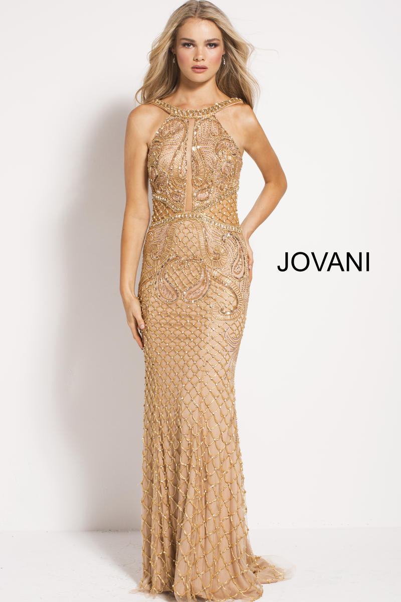 Jovani 50127 High Neck Beaded Gown French Novelty