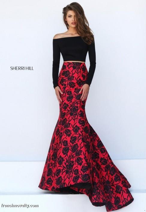 Off Shoulder Long Sleeve Gown