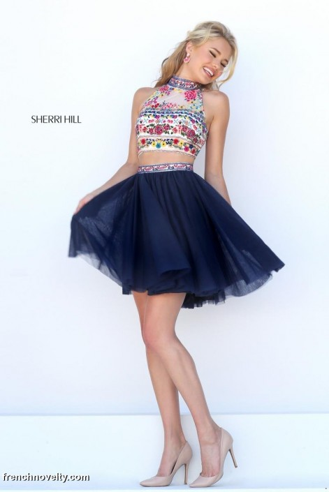 Sherri Hill 50140 Short Prom Dress with Colorful Floral Top: French ...