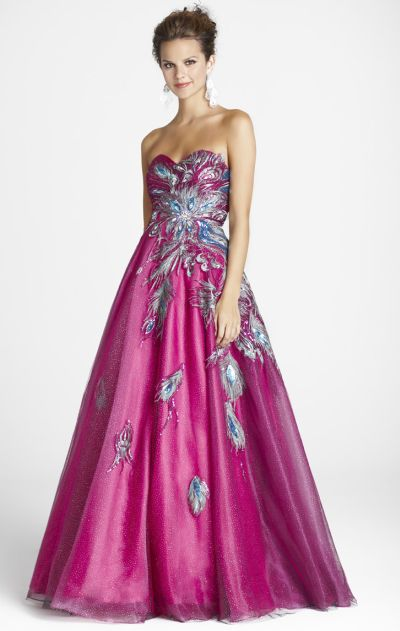 Peacock Colored Prom Dresses