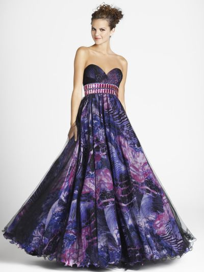 Pink By Blush Purple Fl Print Beaded Ball Gown 5018