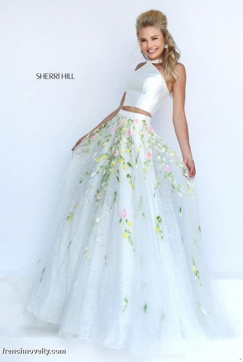 Sherri Hill 50196 Halter 2pc Floral Prom Gown: French Novelty