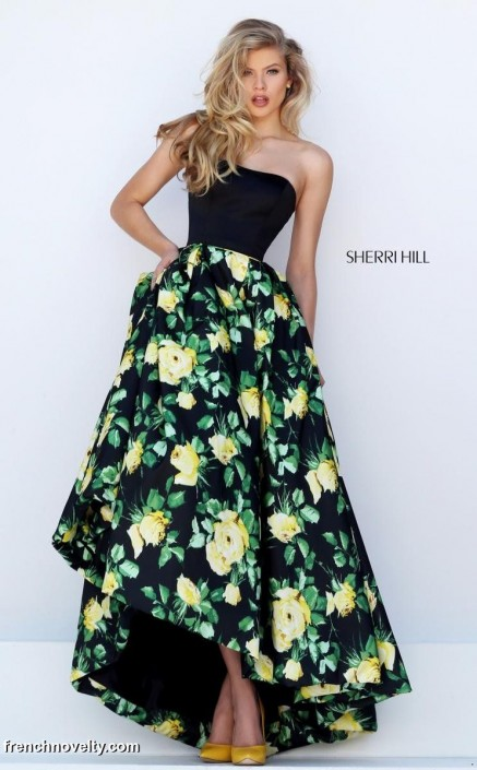 Sherri Hill 50206 Evening Gown with Floral Print Skirt: French Novelty