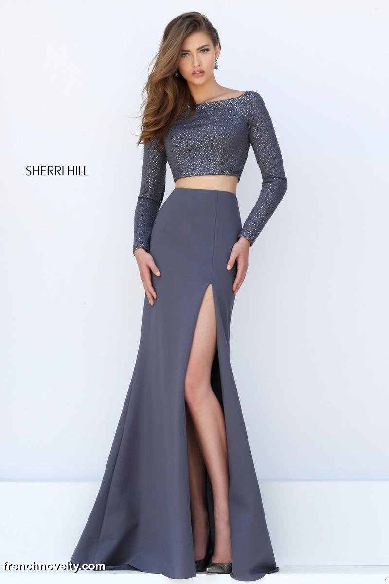 Sherri Hill 50209 Long Sleeve 2pc Prom Gown: French Novelty