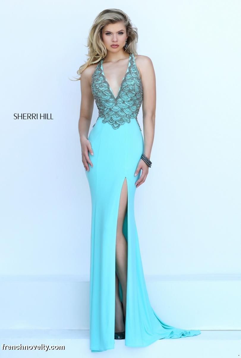 Sherri Hill 50215 Prom Gown with Strappy Back: French Novelty