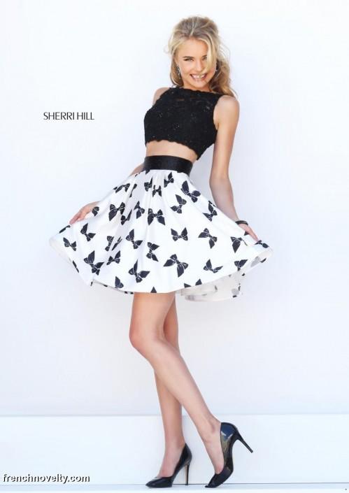dfa568cea0d Sherri Hill 50218 Short 2pc Bow Print Prom Dress  French Novelty