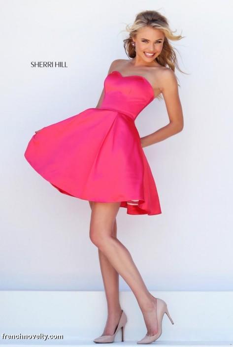 Sherri Hill 50228 Short Strapless Prom Dress: French Novelty