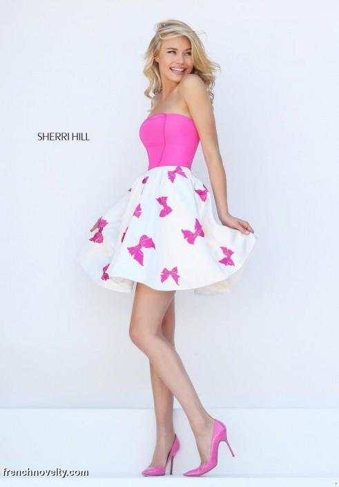 Sherri Hill Prom Dress Pink Bow