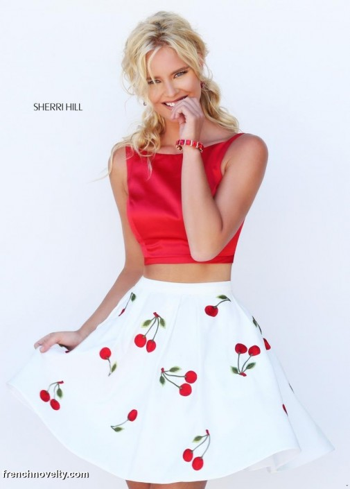 32cb04059e0 Sherri Hill 50234 Short Cherry Print 2pc Prom Dress  French Novelty