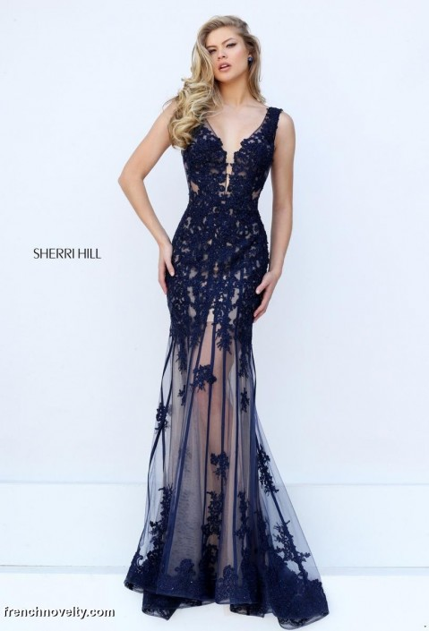 9771fad9b72 Sherri Hill 50256 Sheer Skirt Formal Dress  French Novelty