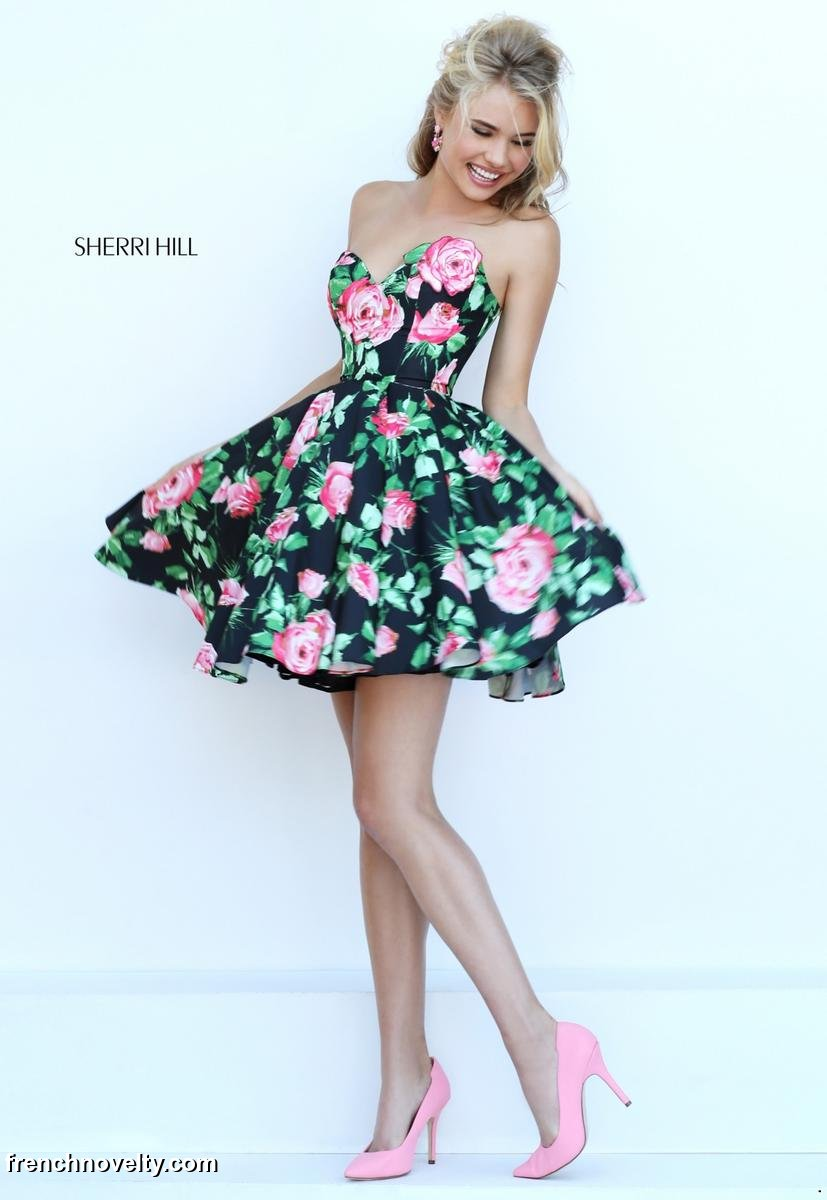 Sherri Hill 50259 Short Floral Print Prom Dress: French Novelty