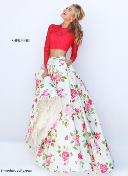 Sherri Hill 50261 Long Sleeve 2pc Floral Prom Gown French Novelty