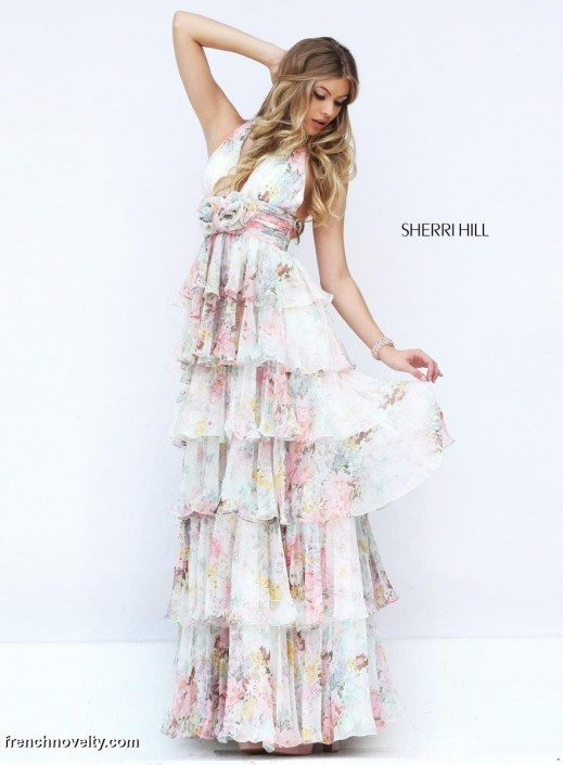 Sherri Hill 50273 Floral Print Tiered Prom Dress: French Novelty