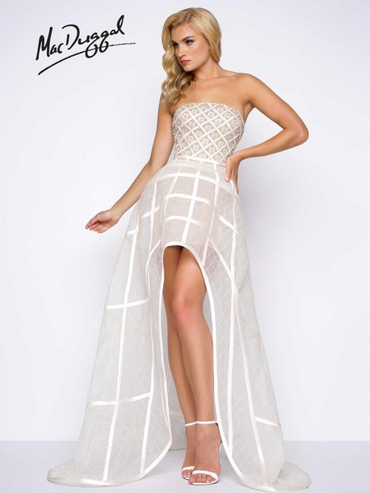 598f7489339 Mac Duggal 50384M Sheer High Low Prom Dress  French Novelty