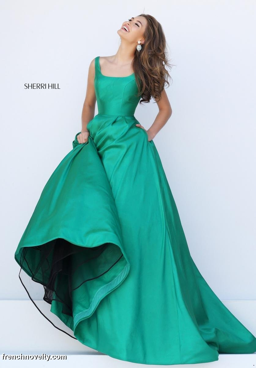 Sherri Hill 50404 Scoop Neck Prom Gown with V Back: French Novelty