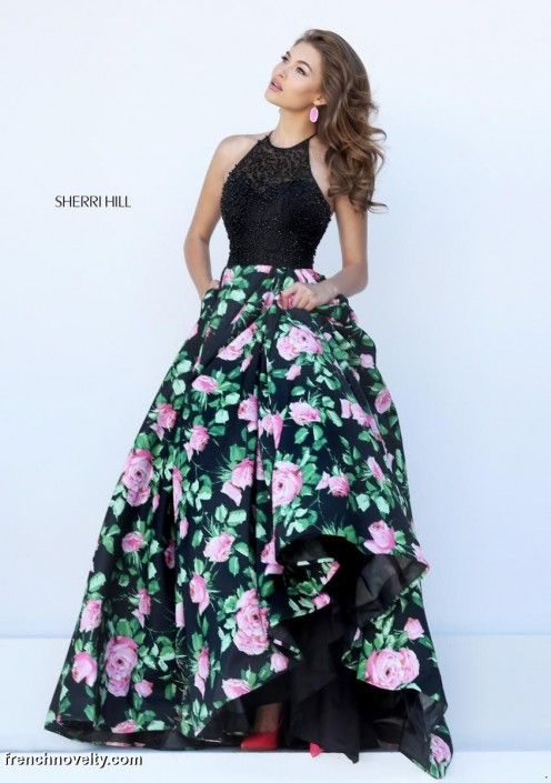 Sherri Hill 50425 Beaded Halter Gown with Floral Print: French Novelty