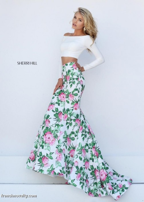 551bf4eb61e6b Sherri Hill 50433 Off Shoulder Long Sleeve 2pc Floral Gown: French Novelty