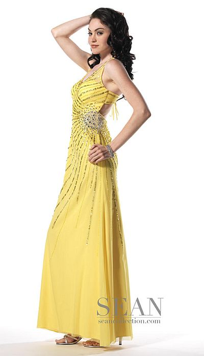 Sean Collection Open Bra Tie Back Beaded Prom Dress 50435: French ...