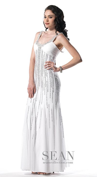 Sean Collection Lace-Up Back Beaded Prom Dress 50436: French Novelty