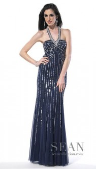 e834e87e995 Sean Collection Beaded Halter Prom Dress 50439