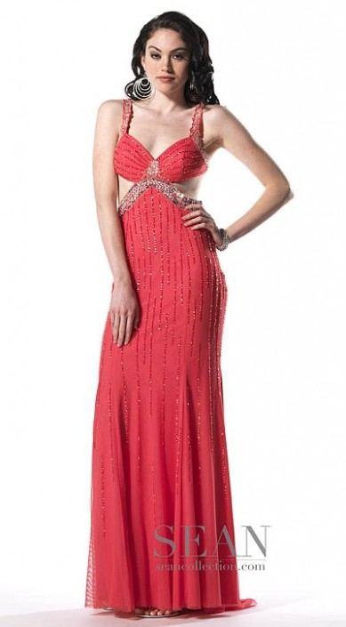 Sean Collection Beaded Tank Prom Dress with Side Cutout 50440 ...