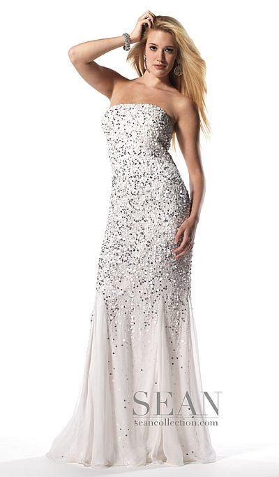 Sean Collection White Silver Silk Sequin Prom Dress 50448: French ...