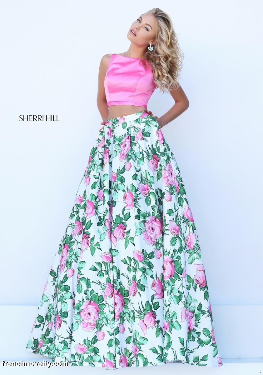 Sherri Hill 50448 Two Piece Floral Print Gown: French Novelty