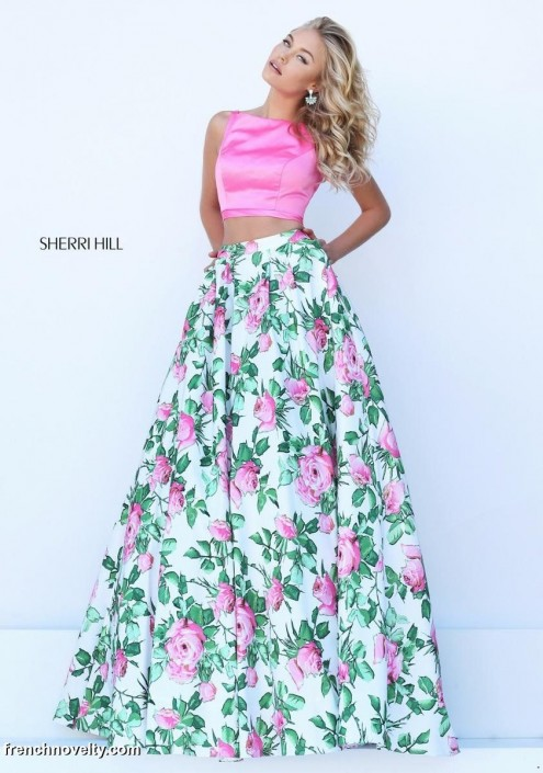 Sherri hill 50448 two piece floral print gown french novelty sherri hill 50448 two piece floral print gown mightylinksfo