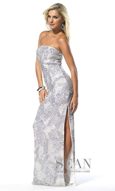 Sean Collection Silver Beaded Sequin Prom Dress 50453: French Novelty