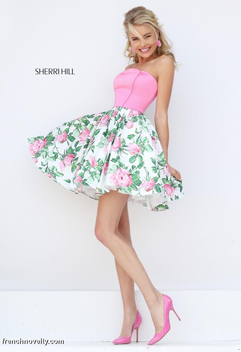Sherri Hill 50470 Short Floral Print Prom Dress: French Novelty