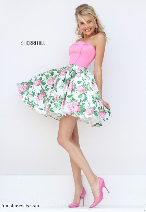 Sherri Hill 50470 Short Floral Print Prom Dress: French Novelty