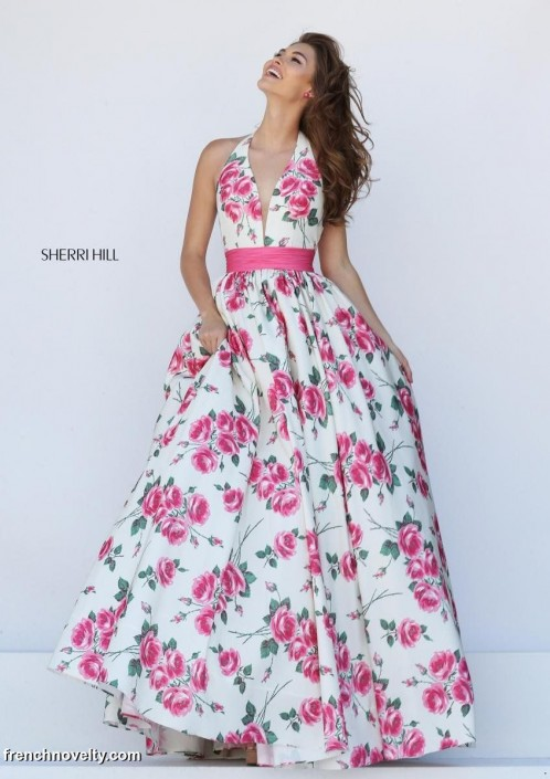 Sherri Hill 50472 Deep V Floral Print Gown