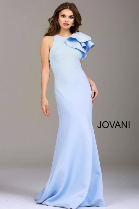 Jovani 50479 Scuba Gown with One Shoulder Ruffle: French Novelty