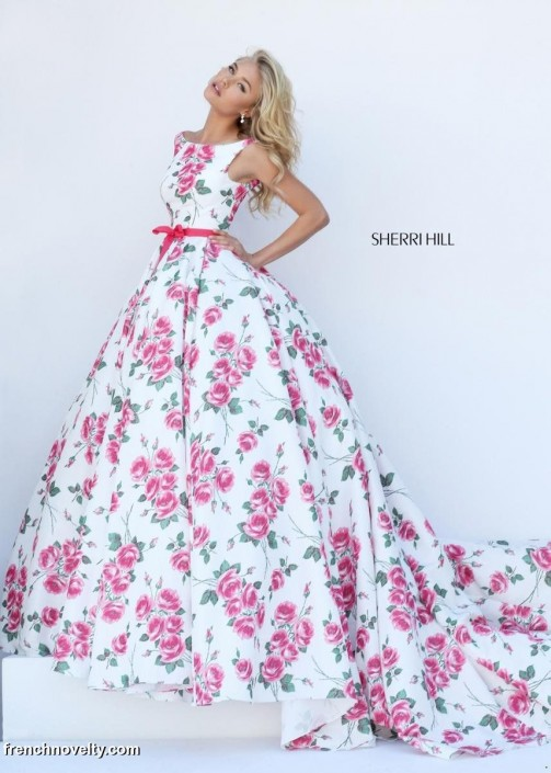 Sherri Hill 50484 Floral Print Prom Gown: French Novelty