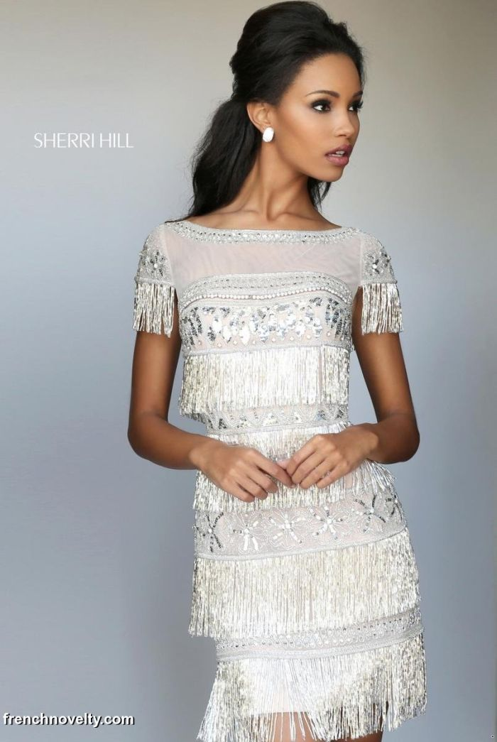 Sherri Hill 50541 Beaded Fringe Short Homecoming Dress: French Novelty