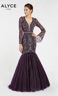 d8847f83153a Alyce Paris 5061 Long Sleeve Black Label Mermaid Gown